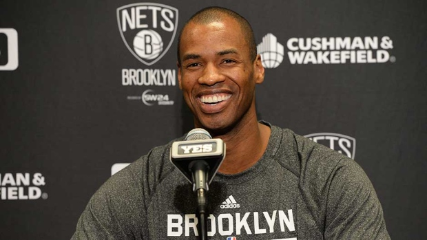 Jason Collins of the Brooklyn Nets speaks with the media prior to a game against the Chicago Bulls at Barclays Center on Monday, Mar. 3, 2014 in Brooklyn, New York. (Credit: Jim McIsaac)